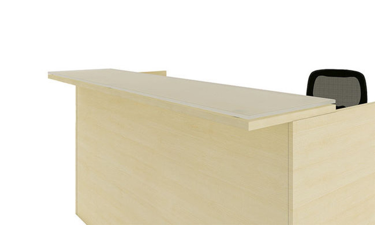 3pc L Shape Modern Glass Counter Reception Desk Set, #CH-AMB-R10