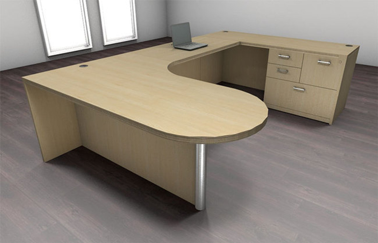 4pc U Shape Modern Executive Office Desk Set, #CH-AMB-U2