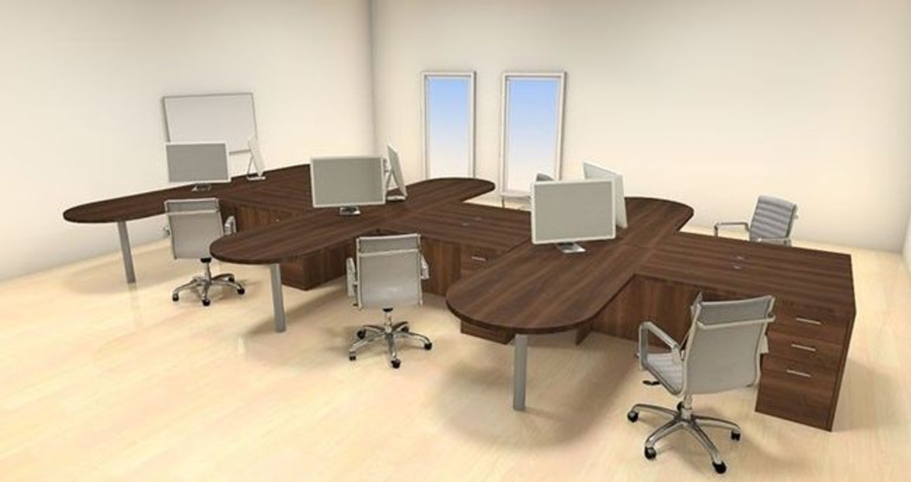 Six Persons Modern Executive Office Workstation Desk Set, #CH-AMB-S29