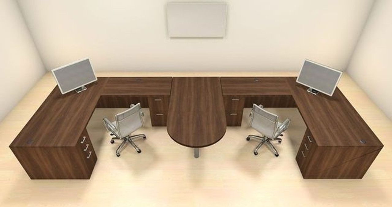 Two Persons Modern Executive Office Workstation Desk Set, #CH-AMB-S54