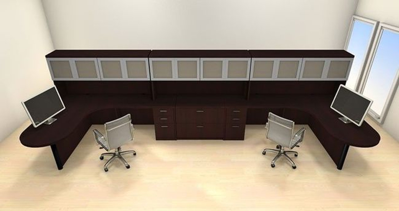Two Persons Modern Executive Office Workstation Desk Set, #CH-AMB-S77