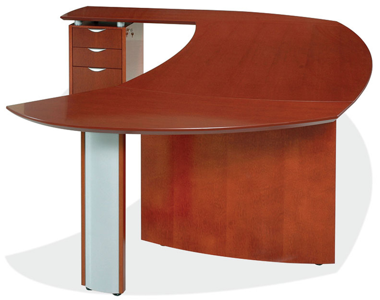 3pc Oval Shape Modern Contemporary Executive Office Desk Set, #PF-TEC-O1