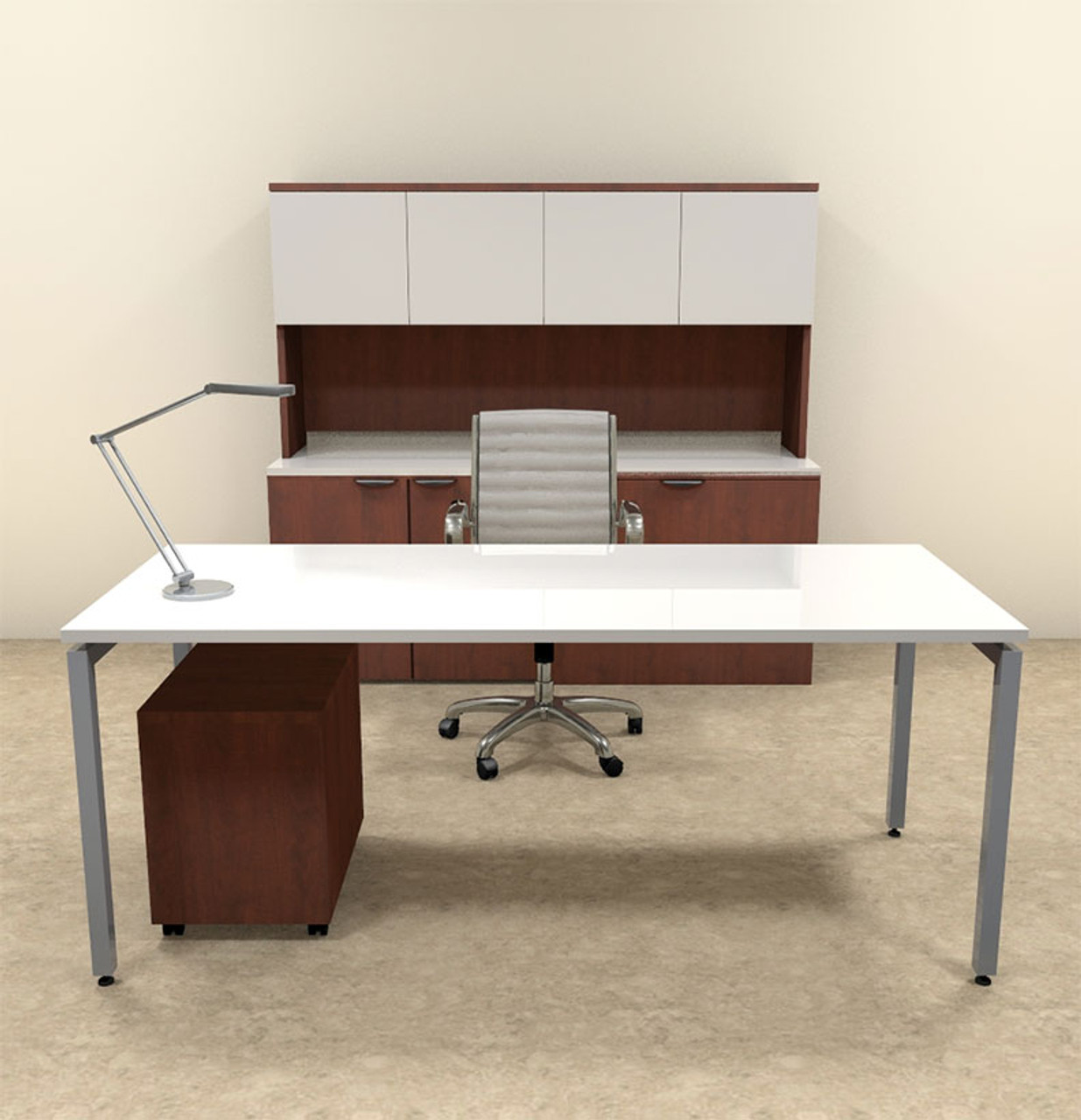 4pc Modern Contemporary Executive Office Desk Set, #OF-CON-D12