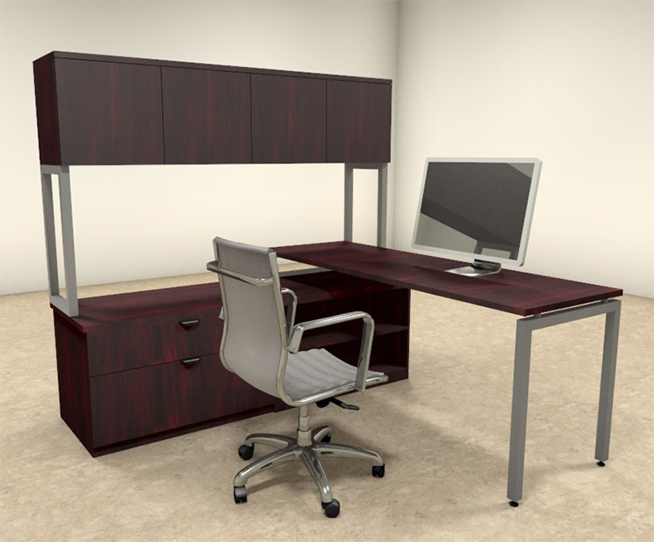 3pc L Shaped Modern Contemporary Executive Office Desk Set, #OF-CON-L38