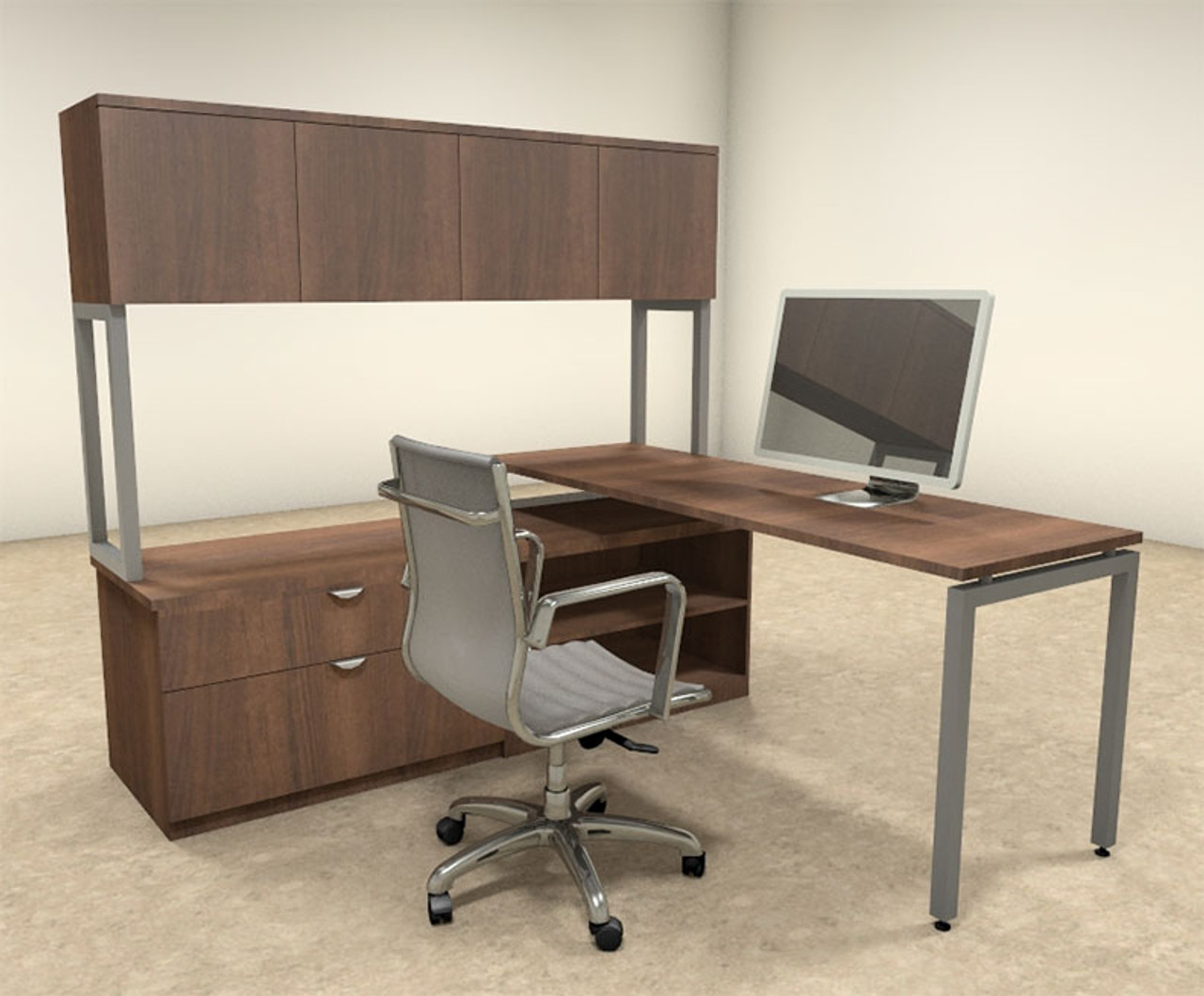 3pc L Shaped Modern Contemporary Executive Office Desk Set, #OF-CON-L39