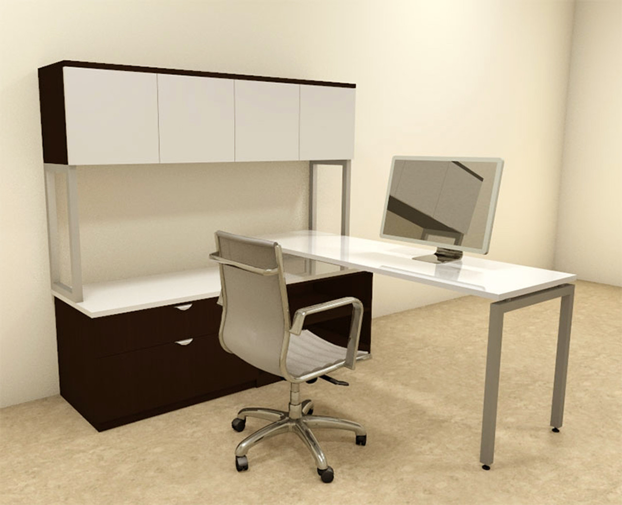 3pc L Shaped Modern Contemporary Executive Office Desk Set, #OF-CON-L45