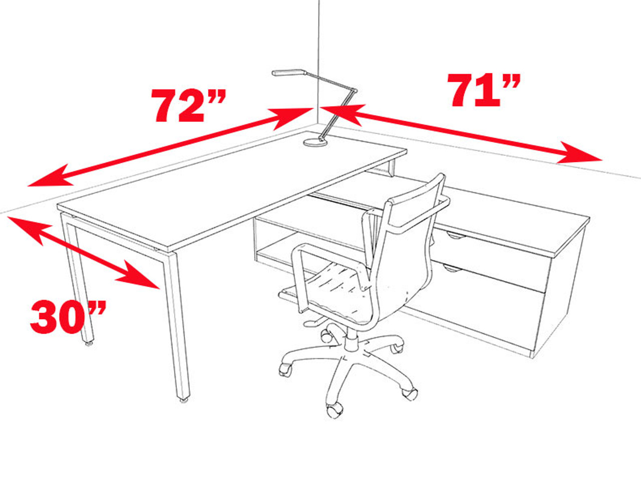 2pc L Shaped Modern Contemporary Executive Office Desk Set, #OF-CON-L47