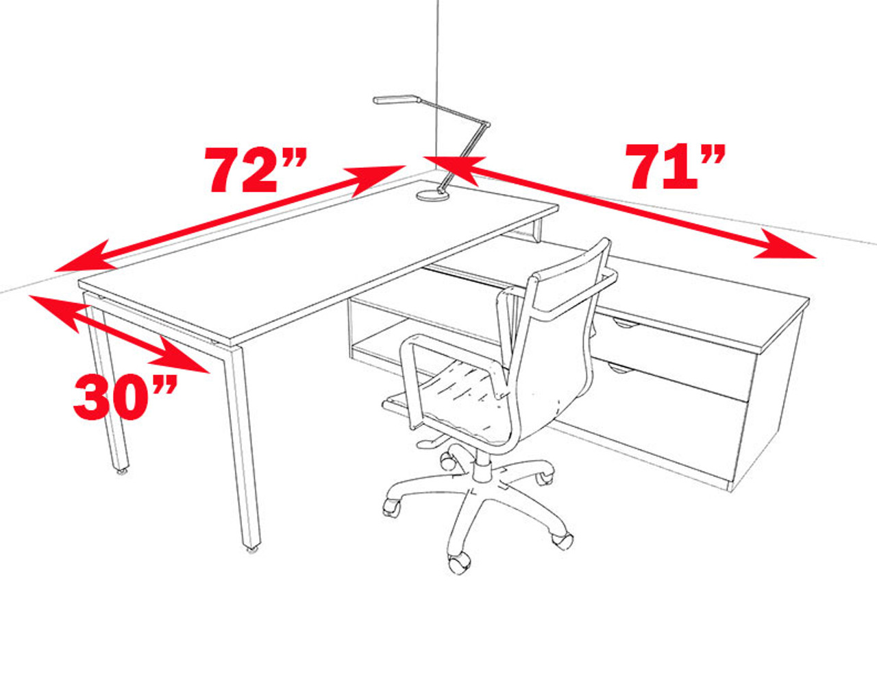2pc L Shaped Modern Contemporary Executive Office Desk Set, #OF-CON-L52