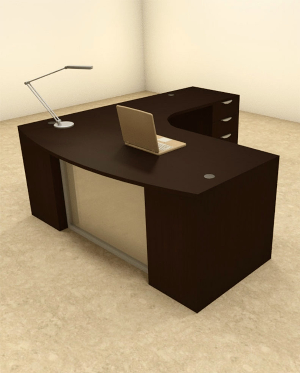 3pc L Shaped Modern Contemporary Executive Office Desk Set, #OF-CON-L60
