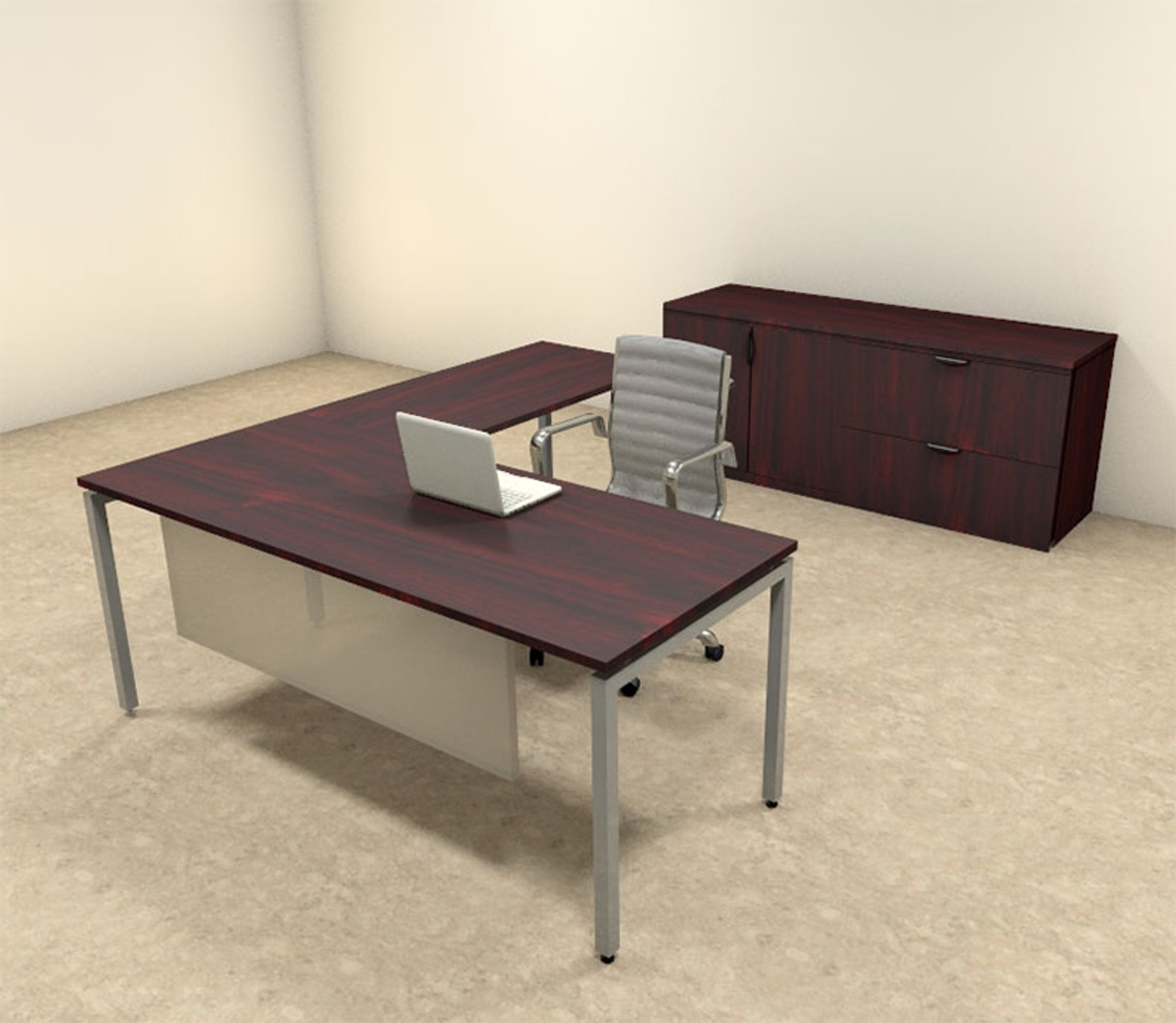 3pc L Shaped Modern Contemporary Executive Office Desk Set, #OF-CON-L68