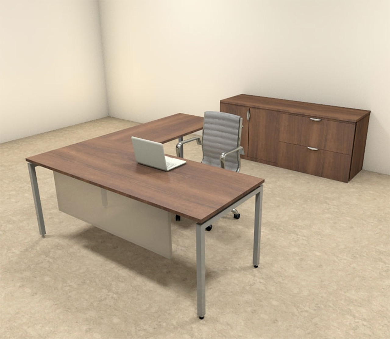 3pc L Shaped Modern Contemporary Executive Office Desk Set, #OF-CON-L69