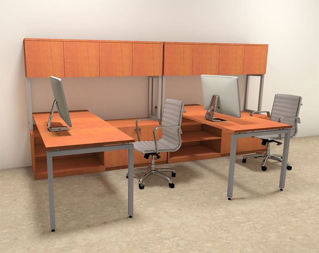 Two Persons Modern Executive Office Workstation Desk Set, #OF-CON-S1