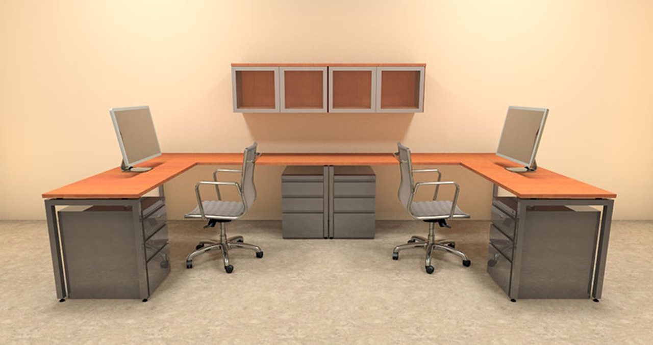 Two Persons Modern Executive Office Workstation Desk Set, #OF-CON-S16
