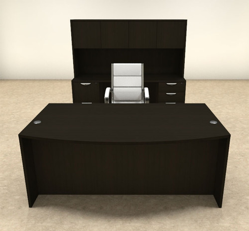 6pc Fan Front Modern Executive Office Desk Set, #OT-SUL-D8