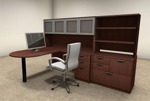 6pc L Shaped Modern Executive Office Desk, #OT-SUL-L46