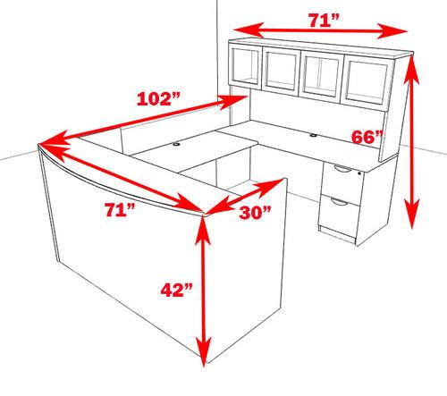 5pc U Shaped Modern Office Reception Desk, #OT-SUL-R12