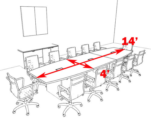 Modern Boat Shapedd 14' Feet Conference Table, #OF-CON-C68