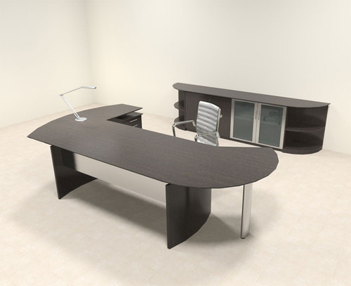 6pc Modern Contemporary L Shaped Executive Office Desk Set, #MT-MED-O15