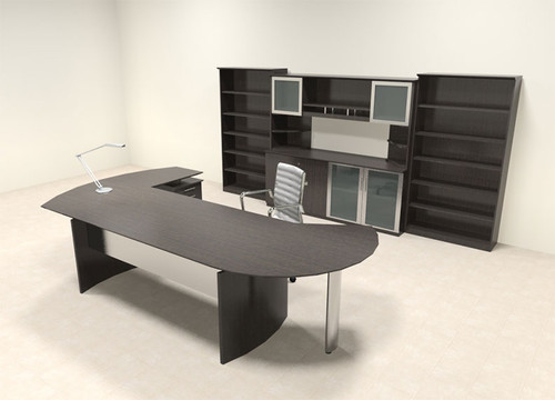 7pc Modern Contemporary L Shaped Executive Office Desk Set, #MT-MED-O21