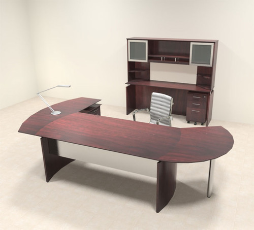 6pc Modern Contemporary L Shaped Executive Office Desk Set, #MT-MED-O23