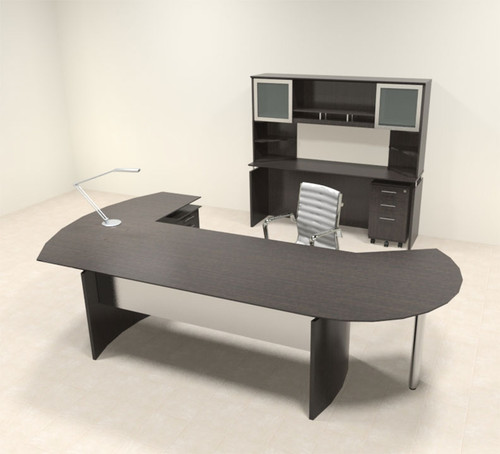 6pc Modern Contemporary L Shaped Executive Office Desk Set, #MT-MED-O24