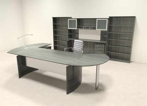 8pc Modern Contemporary L Shaped Executive Office Desk Set, #MT-MED-O25