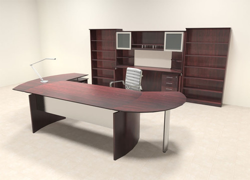 8pc Modern Contemporary L Shaped Executive Office Desk Set, #MT-MED-O26