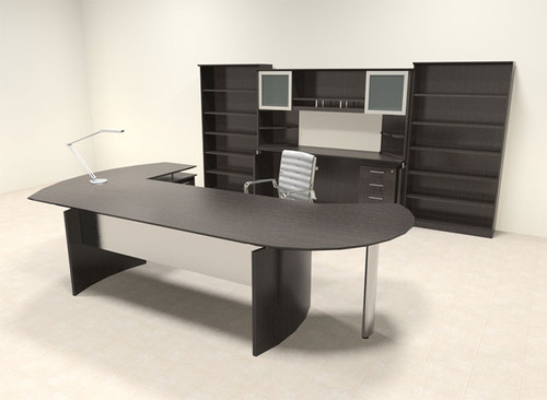 8pc Modern Contemporary L Shaped Executive Office Desk Set, #MT-MED-O27