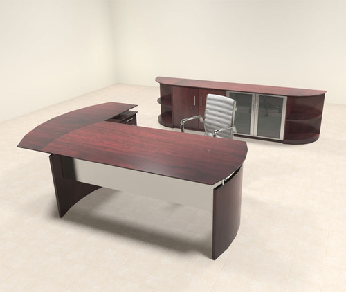 5pc Modern Contemporary L Shaped Executive Office Desk Set, #MT-MED-O32