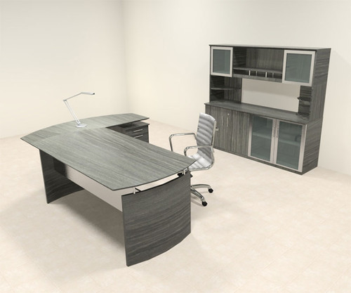 4pc Modern Contemporary L Shaped Executive Office Desk Set, #MT-MED-O34