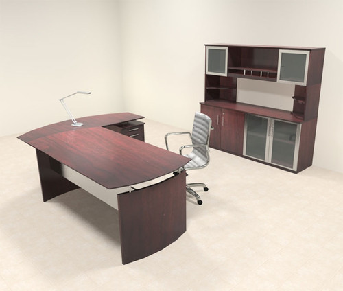 4pc Modern Contemporary L Shaped Executive Office Desk Set, #MT-MED-O35