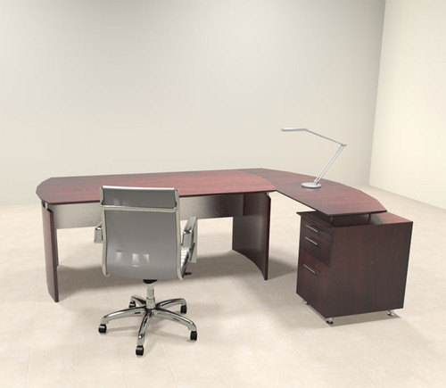 2pc Modern Contemporary L Shaped Executive Office Desk Set, #MT-MED-O5