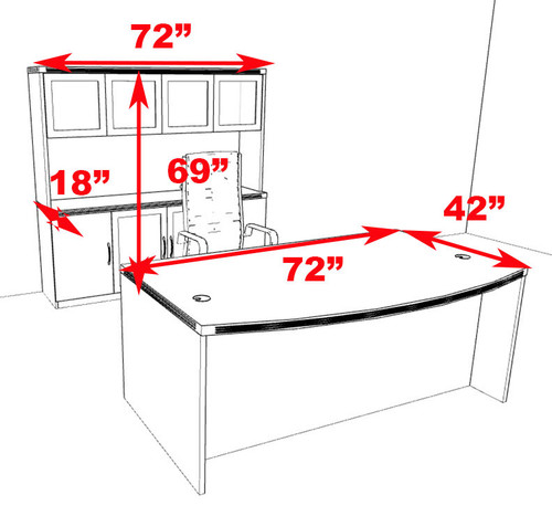 4pc Modern Contemporary Executive Office Desk Set, #RO-ABD-D11