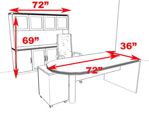 4pc Modern Contemporary Executive Office Desk Set, #RO-ABD-D27