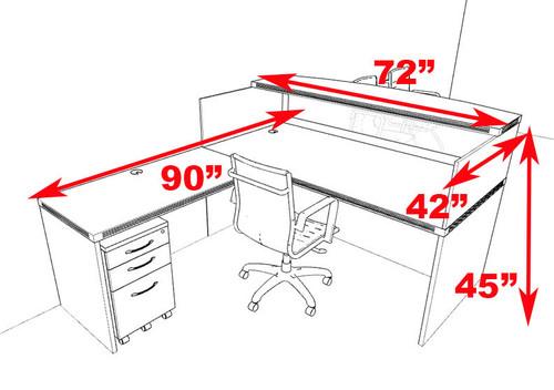 3pc Modern Contemporary L Shaped Glass Reception Desk Set, #RO-ABD-R4