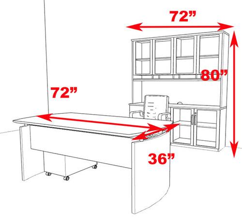 4pc Modern Contemporary Executive Office Desk Set, #RO-NAP-D9