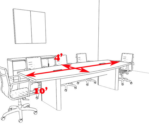 Modern Boat Shaped 10' Feet Conference Table, #OF-CON-CP5