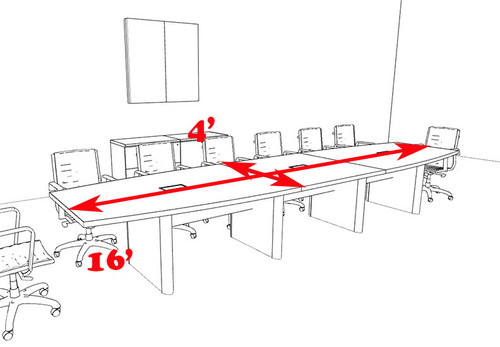Modern Boat Shaped 16' Feet Conference Table, #OF-CON-CP16