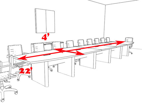 Modern Boat Shaped 22' Feet Conference Table, #OF-CON-CP32