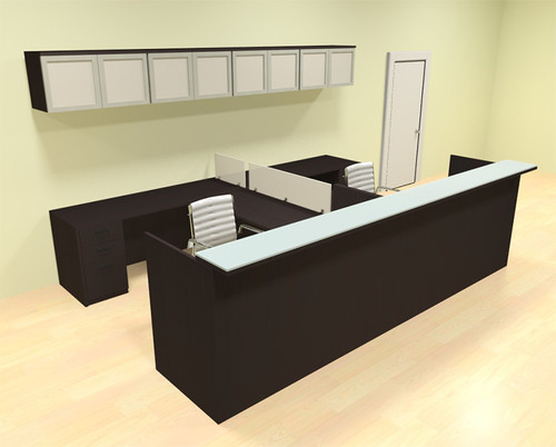 12pc 12' Feet U Shaped Glass Counter Reception Desk Set, #CH-AMB-R22
