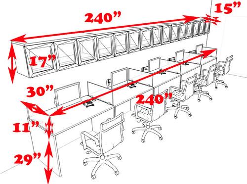 Five Person Modern Divider Office Workstation Desk Set, #CH-AMB-SP97