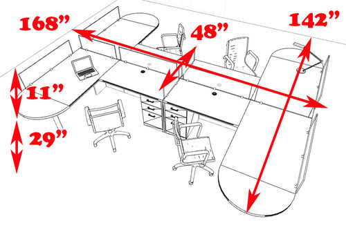 Four Person L Shaped Modern Divider Office Workstation Desk Set, #CH-AMB-SP51