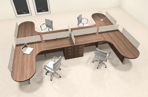 Four Person L Shaped Modern Divider Office Workstation Desk Set, #CH-AMB-SP59