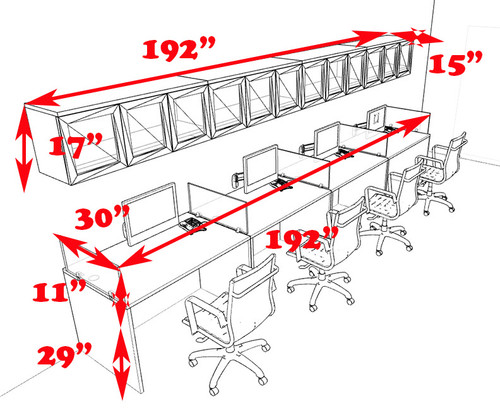 Four Person Modern Divider Office Workstation Desk Set, #CH-AMB-SP91