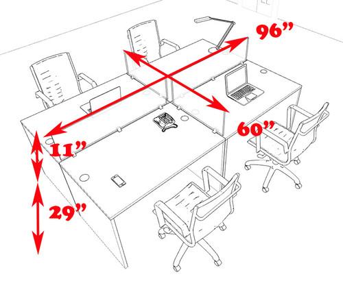 Four Persons Modern Office Divider Workstation Desk Set, #CH-AMB-FP17