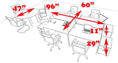 Four Persons Modern Office Divider Workstation Desk Set, #CH-AMB-FP29