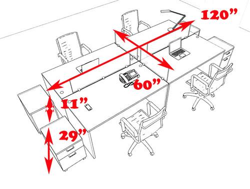 Four Persons Modern Office Divider Workstation Desk Set, #CH-AMB-FP36