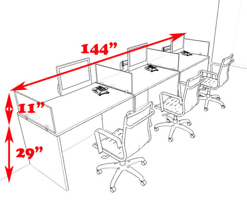 Three Person Modern Divider Office Workstation Desk Set, #CH-AMB-SP69