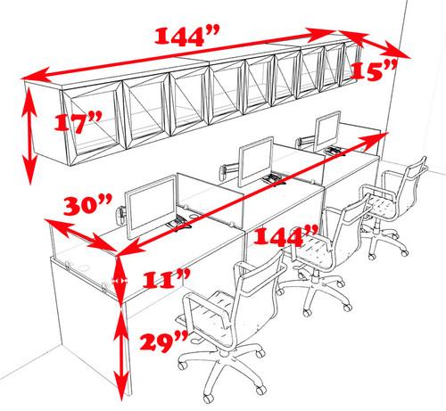 Three Person Modern Divider Office Workstation Desk Set, #CH-AMB-SP90