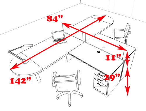 Two Person L Shaped Modern Divider Office Workstation Desk Set, #CH-AMB-SP18